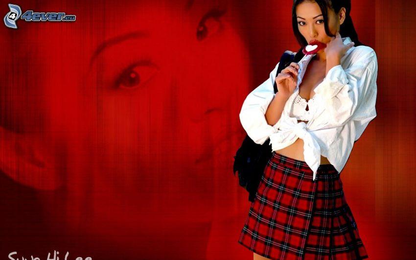 Sung Hi Lee, modelka, bluzka, spódnica, lizak