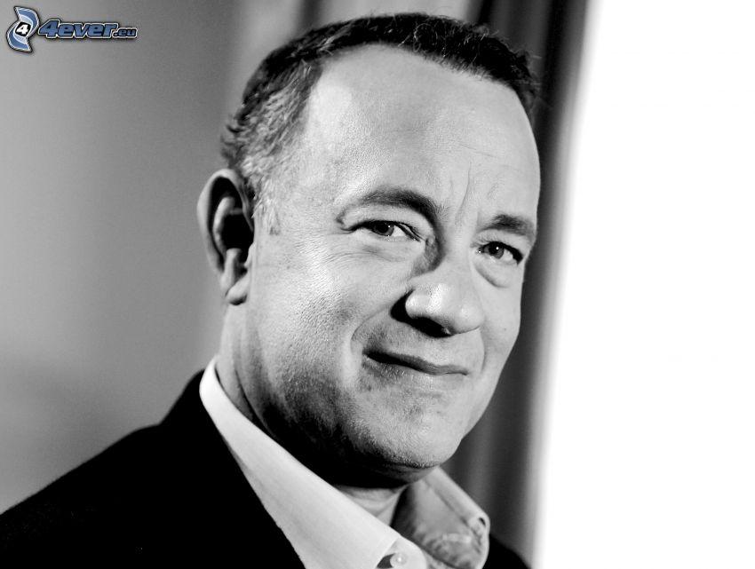 Tom Hanks, czarno-białe zdjęcie