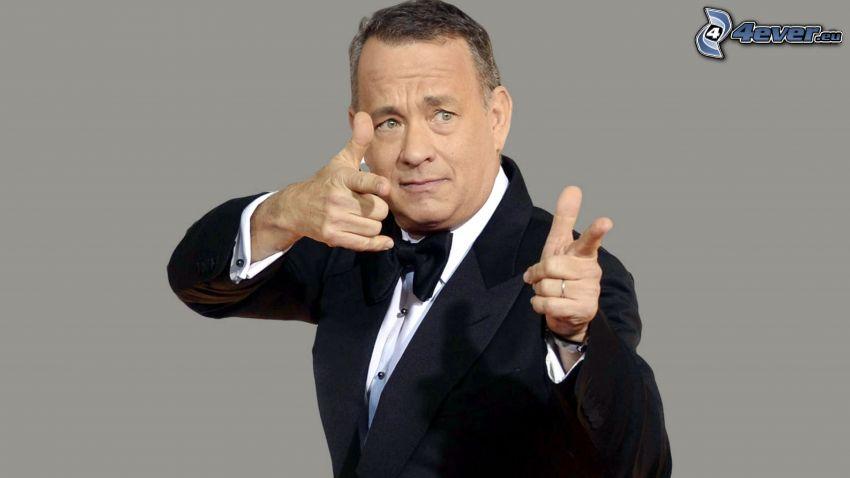 Tom Hanks, mężczyzna w garniturze, gest