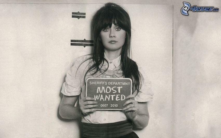 Zooey Deschanel, czarno-białe zdjęcie