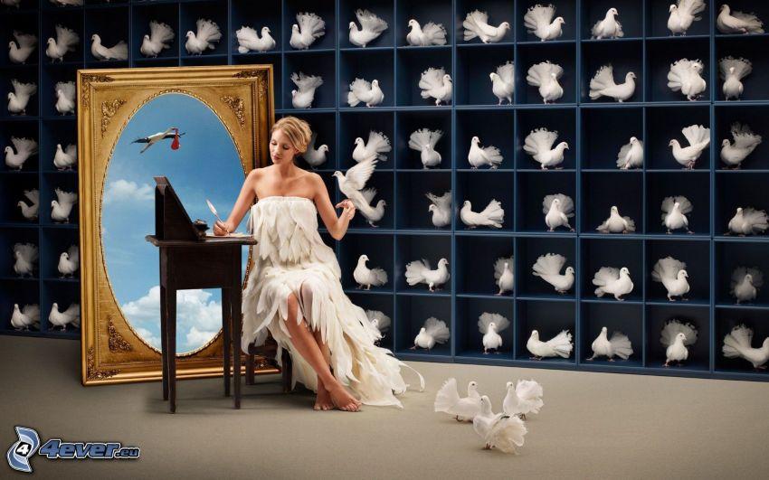 blondynka, gołębice, bocian