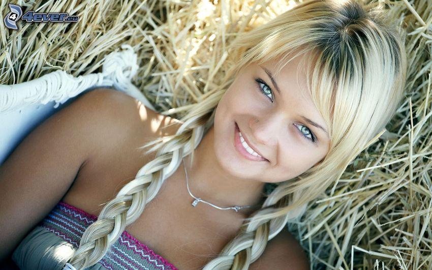 blondynka, warkocze
