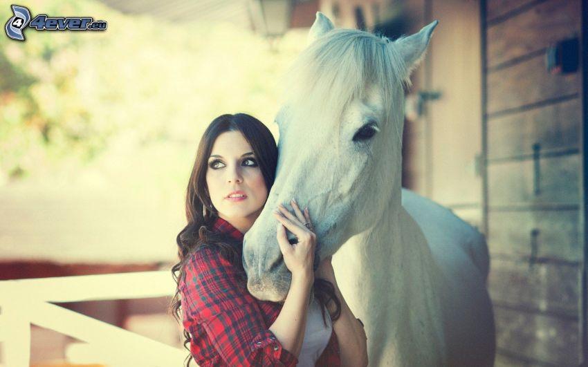 brunetka, biały koń