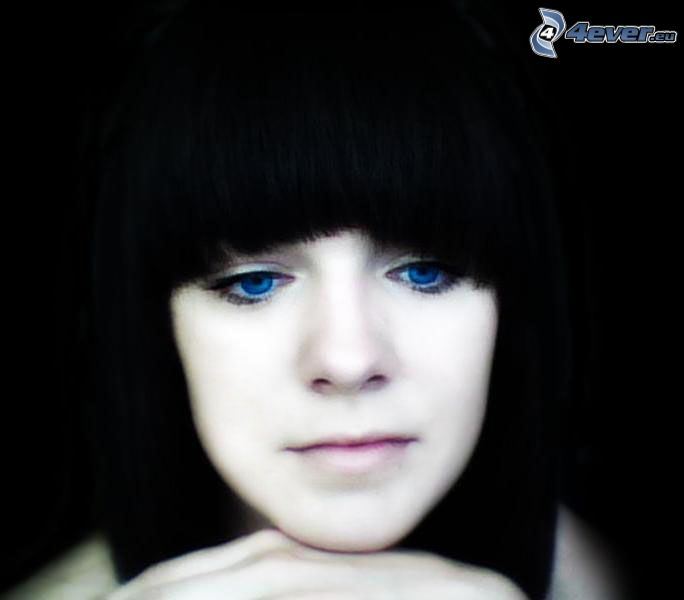 dziewczyna, grzywka, niebieskie oczy, ciemne włosy