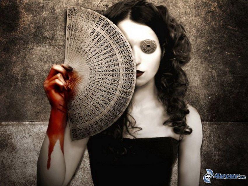 gotycka dziewczyna, wachlarz, krwawa ręka