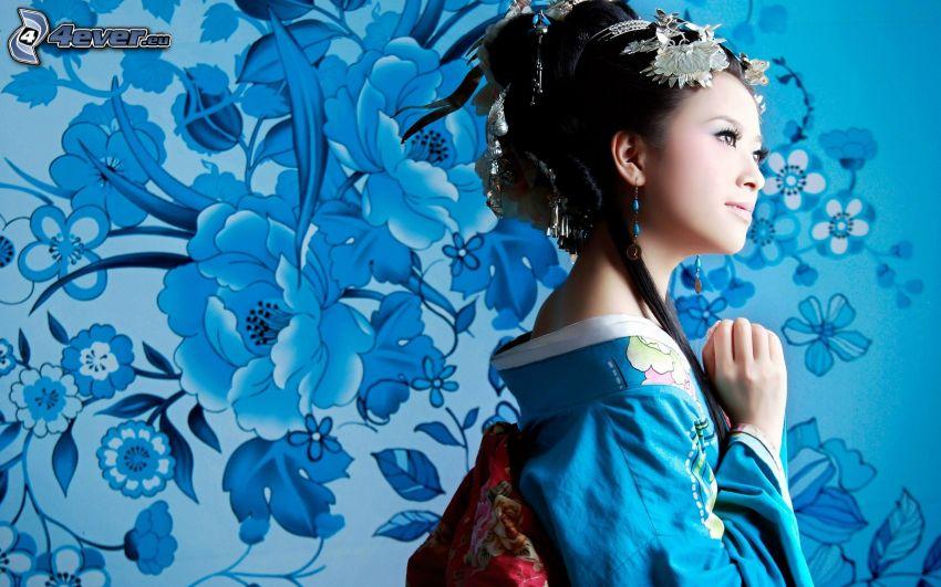 Japonka, rysunkowe, kwiaty