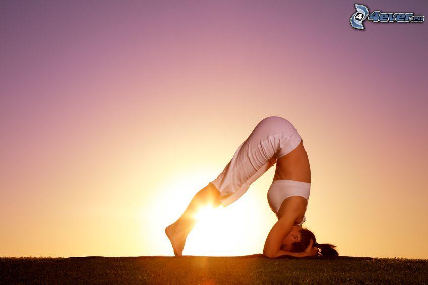 joga, wschód słońca, sportsmenka, kobieta