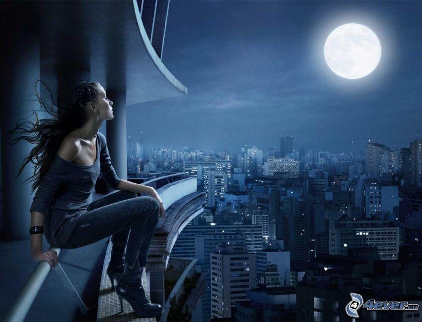 kobieta, księżyc, widok na miasto