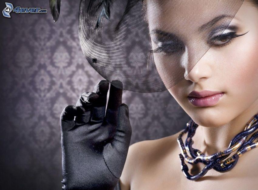 kobieta, rękawice, kapelusz
