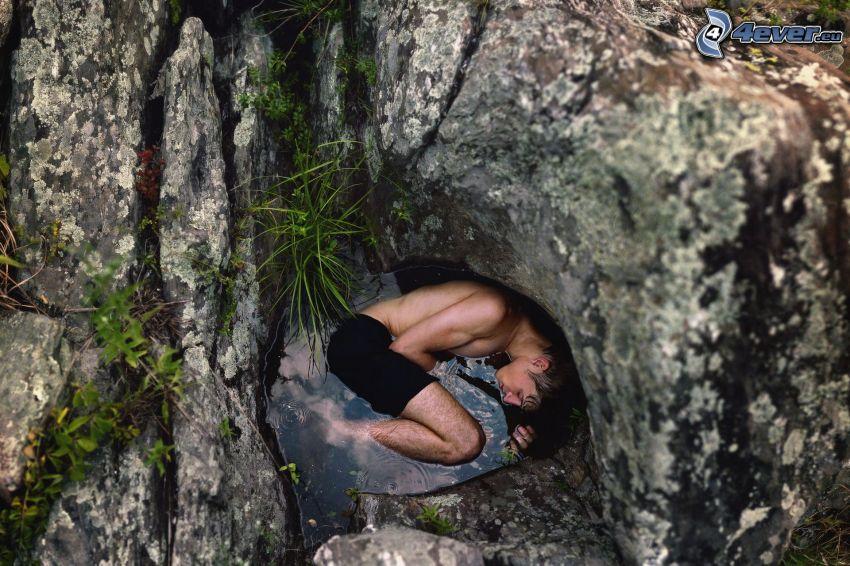 mężczyzna, dziura, woda, skała