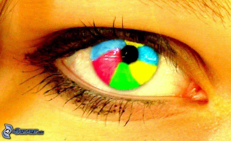 tęczowe oko, tęczówka, kolorowe oko
