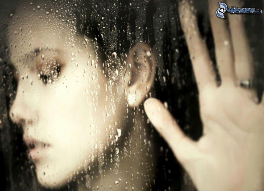 twarz, ręka, szkło, krople wody