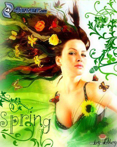 wiosna, kobieta