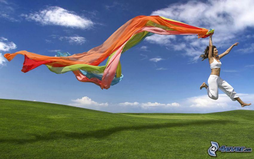 wyskok ze szczęścia, welon, zielona łąka