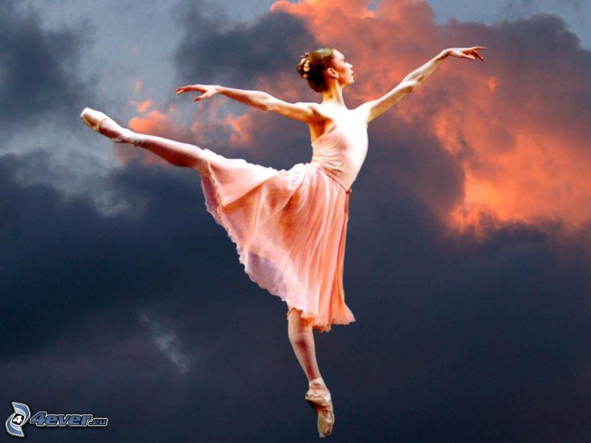 baletnica, ciemne chmury