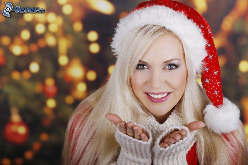 blondynka, czapka Świętego Mikołaja