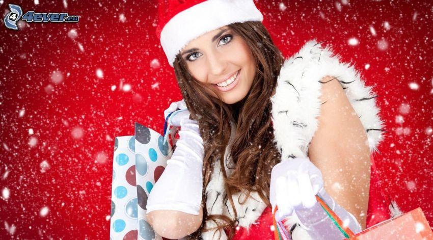 brunetka, czapka Świętego Mikołaja