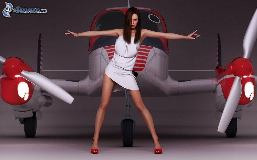brunetka, samolot