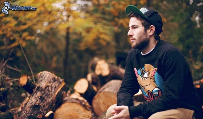 chłopak, las, drewno