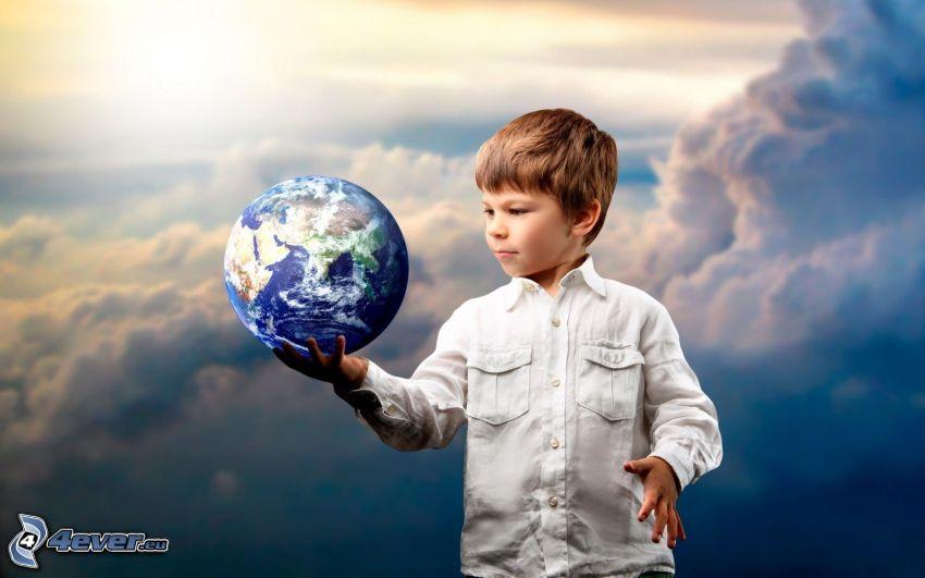 chłopczyk, Planeta Ziemia, chmury, słońce