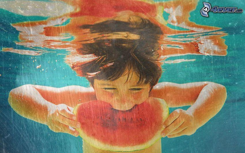dziecko, arbuz, woda