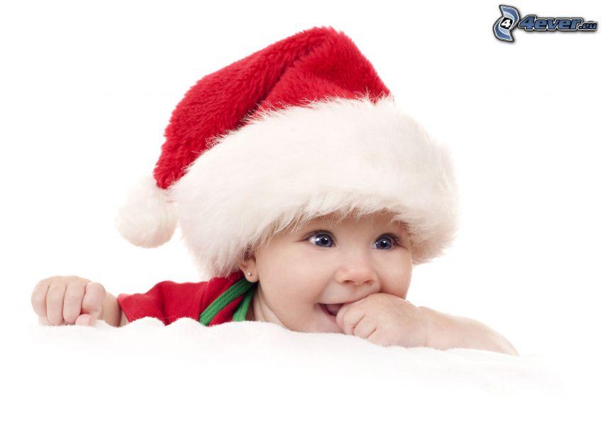 dziecko, czapka Świętego Mikołaja