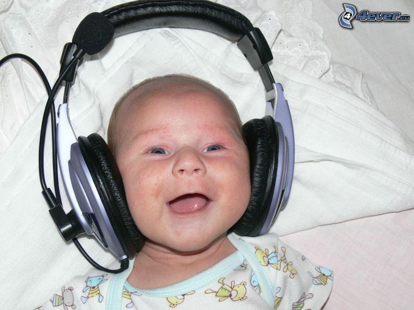 dziecko, śmiech, słuchawki