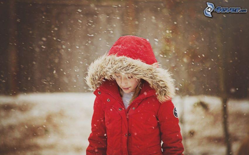 dziewczyna, czerwona kurtka, opady śniegu