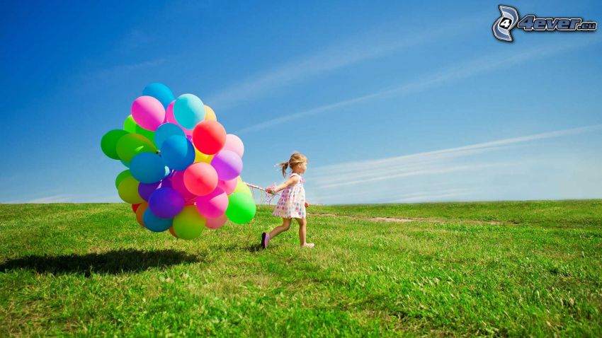 dziewczynka, balony, łąka