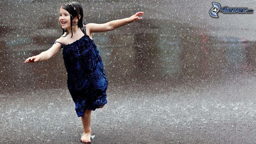 dziewczynka, deszcz