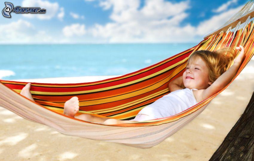 dziewczynka, hamak, uśmiech, wygoda, plaża, morze