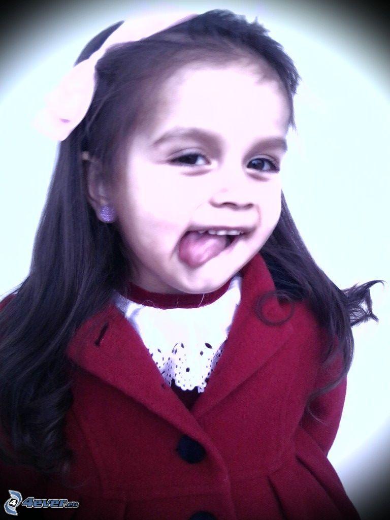 dziewczynka, język, płaszcz