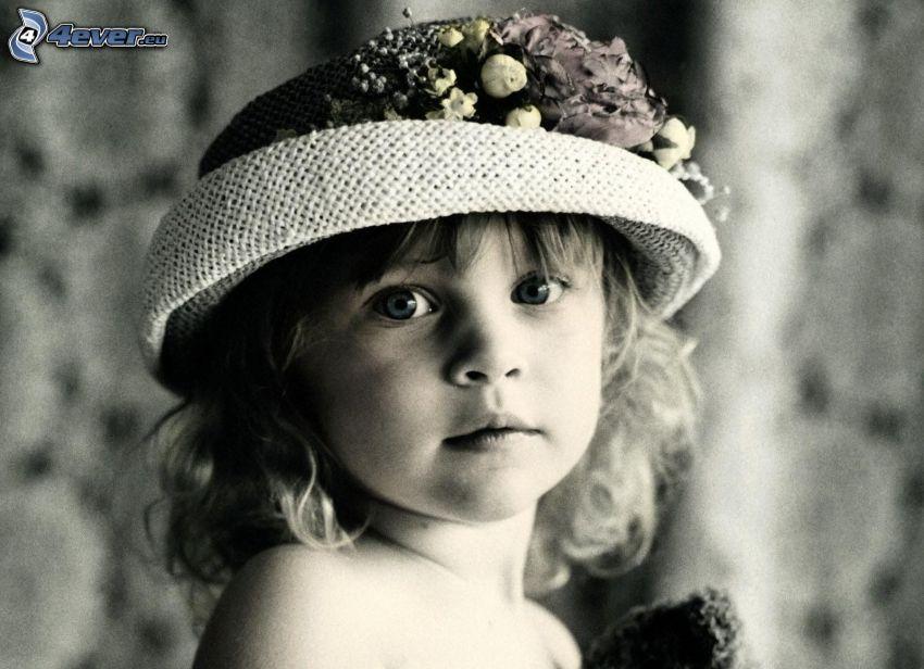 dziewczynka, kapelusz, czarno-białe zdjęcie