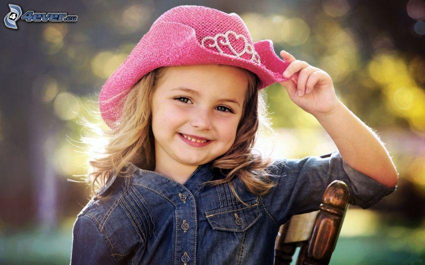 dziewczynka, kapelusz, uśmiech