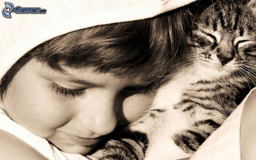 dziewczynka, kotek, czarno-białe