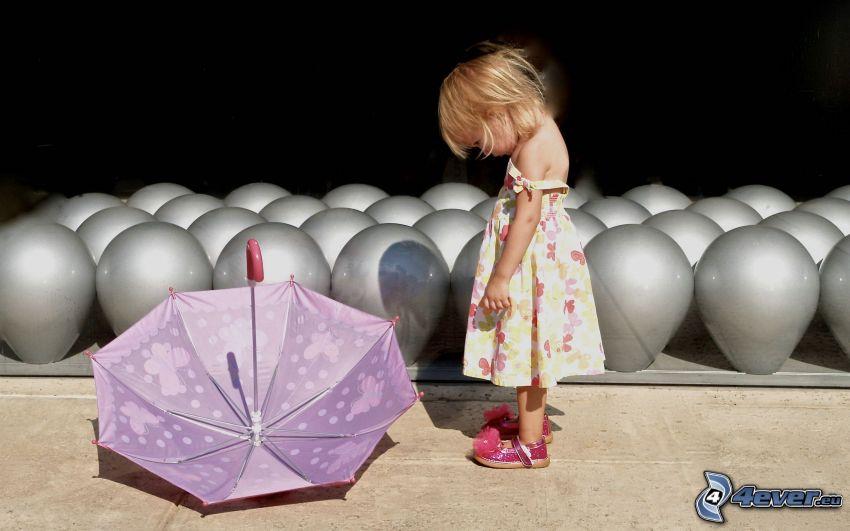 dziewczynka, parasol