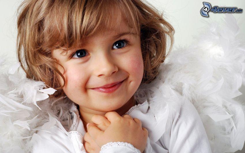 dziewczynka, uśmiech, aniołek