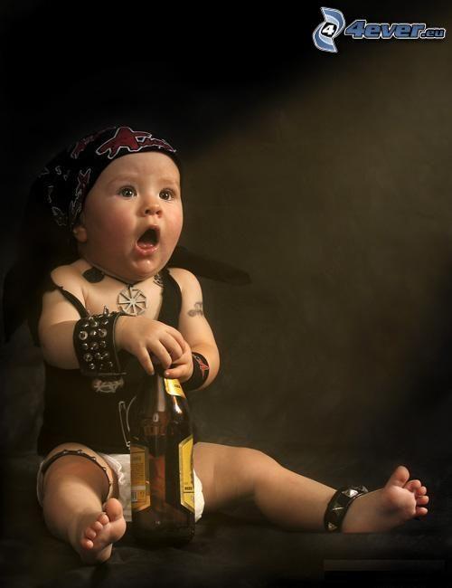 metalowiec, dziecko, piwo