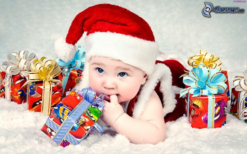 niemowlaki, czapka Świętego Mikołaja, prezenty