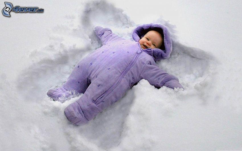 niemowlaki, śnieg, anioł, radość