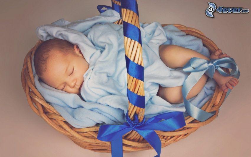 śpiące dziecko, niemowlaki, koszyk, wstążka