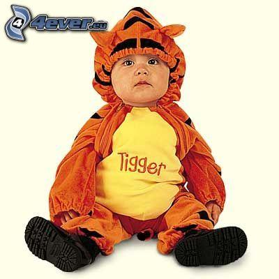 tigger, dziecko, kostium, tygrys