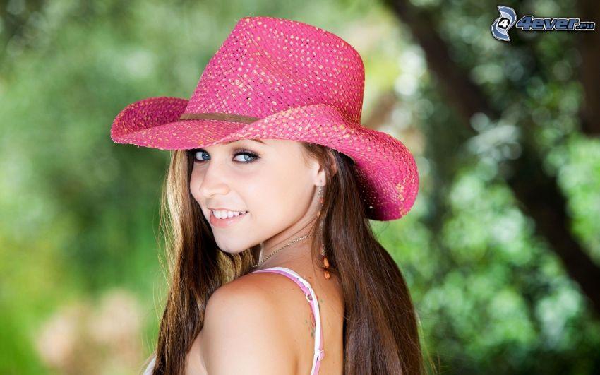 dziewczyna, kapelusz