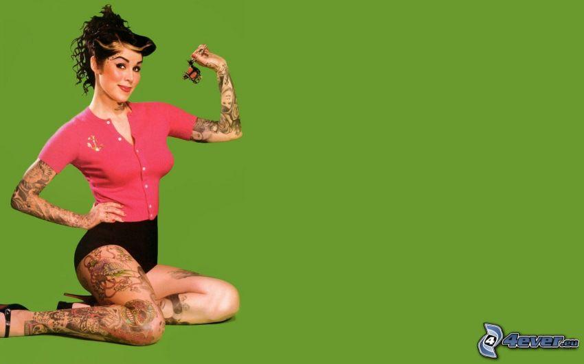 Kat Von D, kobieta, z tatuażem