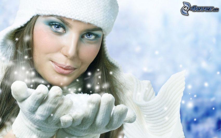 kobieta, śnieg, czapka, rękawice