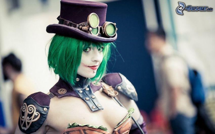 kobieta, zielone włosy, kapelusz