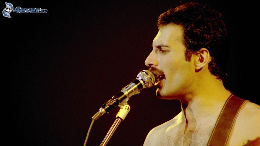 Freddie Mercury, piosenkarz, mikrofon
