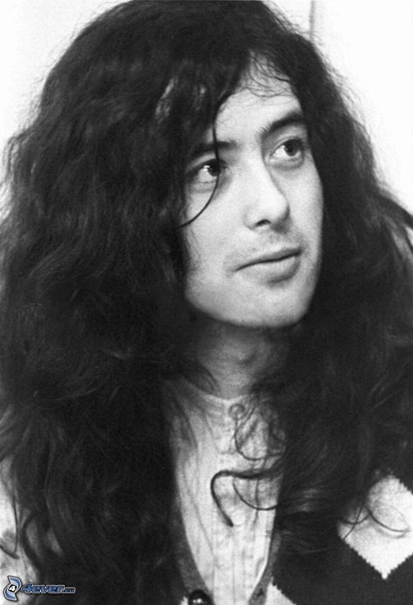Jimmy Page, gitarzysta, w, młodości, czarno-białe zdjęcie