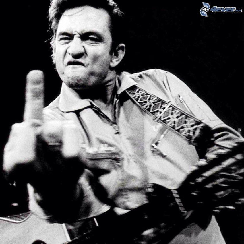 Johnny Cash, gest, czarno-białe zdjęcie