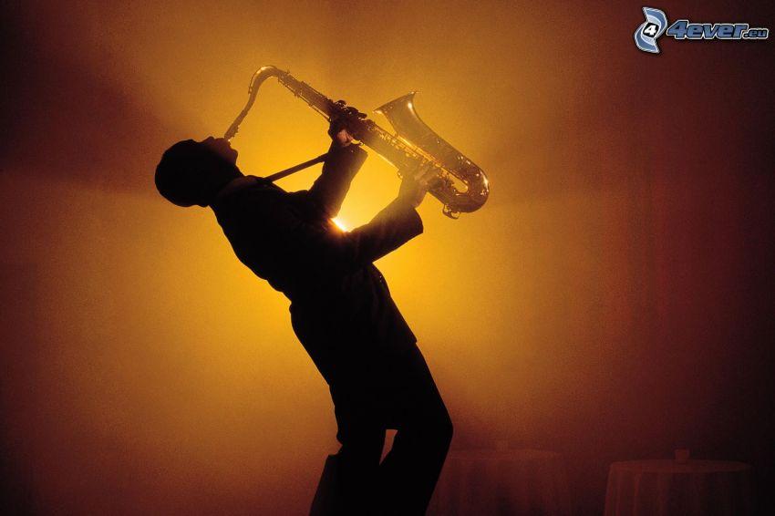 saksofonista, saksofon, światło